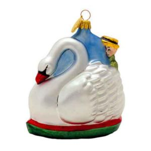 Blown Glass Swan Boats Ornament